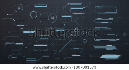 Callouts titles. Callout bar labels, information call box bars and modern digital info. Tech digital info boxes hud templates. Futuristic set advertising communication. Vector illustration