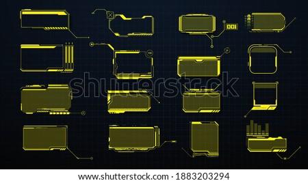 Callouts titles. Callout bar labels, information call box bars and modern digital info. Tech digital info boxes hud templates.HUD set frames. Futuristic modern user interface elements.High tech screen Photo stock ©