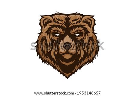 calm bear head vector logo