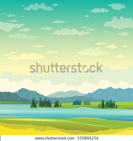 calm blue lake with green grass