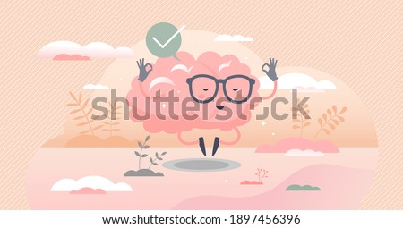 Calm brain meditation to relax balance or mental wellness tiny person concept. Organ character with cute and funny peace control and mind focus vector illustration. Rest well for psychological harmony