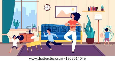 Calm mom and kids. Mother meditates among running naughty, mischievous children creating chaos in home. Vector concept