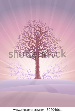 calm pastel colored tree scenery