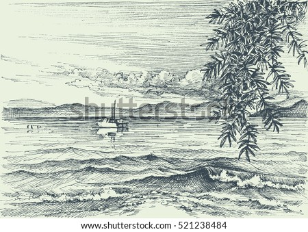 calm sea view etching  an olive