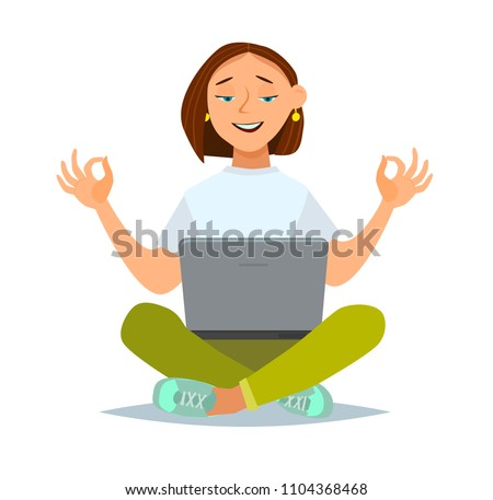 Calm woman relaxing meditating with laptop, no stress free relief at work concept,  Vector illustration in a flat style.