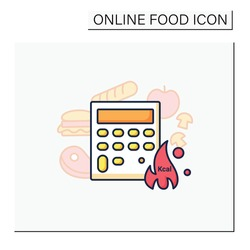 Calorie calculator color icon. Online food counter. Healthy eating. Calorie count. Serving size. Weight loss concept. Portion control. Dietary nutrition. Isolated vector illustration