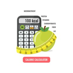Calorie calculator concept. Calculator with apple and measuring tape. Vector illustration.