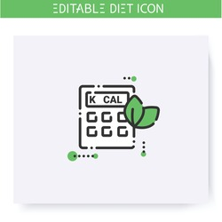 Calorie calculator line icon. Calorie count. Serving size. Diet. Weight loss. Portion control. Healthy eating. Dietary nutrition. Isolated vector illustration. Editable stroke