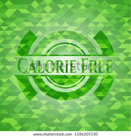 Calorie Free green emblem with mosaic background Stock fotó ©