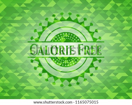 Calorie Free green emblem with mosaic ecological style background Stock fotó ©