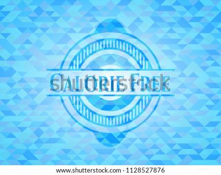 Calorie Free light blue emblem with triangle mosaic background Stock fotó ©