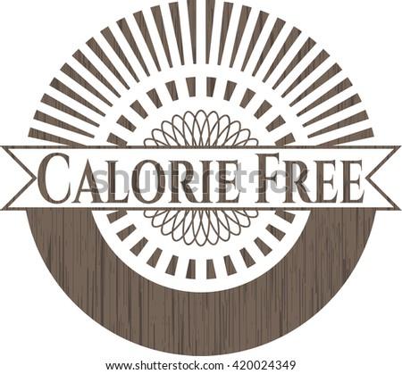 Calorie Free wooden emblem. Retro