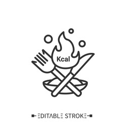 Calories line icon. Energy value. Burning calories. Diet. Calorie count. Nutrition facts.Healthy, balanced nutrition concept. Isolated vector illustrations.Editable stroke