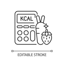 Calories linear icon. Ingredients for healthy eating. Dietary food. Calculator for measurement. Thin line customizable illustration. Contour symbol. Vector isolated outline drawing. Editable stroke
