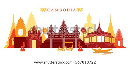 Cambodia Landmarks Skyline, Colorful, Cityscape, Travel and Tourist Attraction