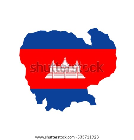 Cambodia map and flag in white background
