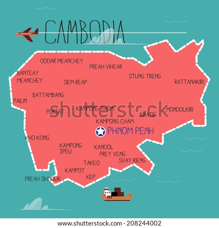 cambodia map - vector