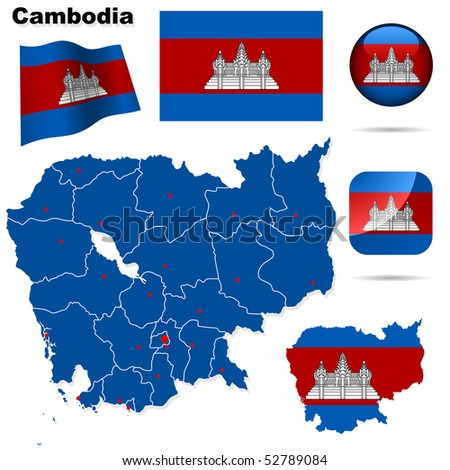 Cambodia vector set. Detailed country shape with region borders, flags and icons isolated on white background.