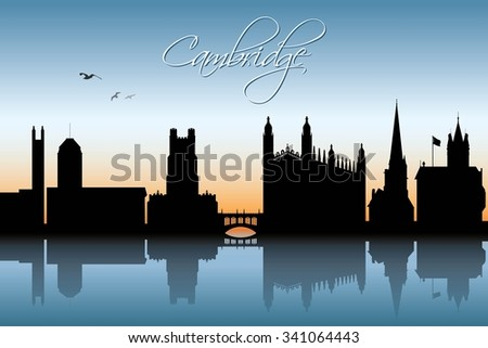 cambridge uk skyline   vector