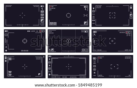 Camcorder viewfinder interface. Camera viewfinder, digital display video quality, rec time, battery. Cam viewfinder screen vector illustrations. Focusing screen, image stabilization