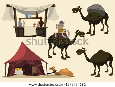 camel and Arabian set vector illustration