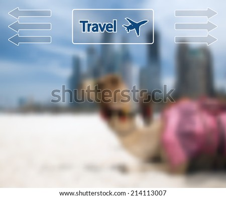 Camel at the urban background of Dubai. Vector Illustration.