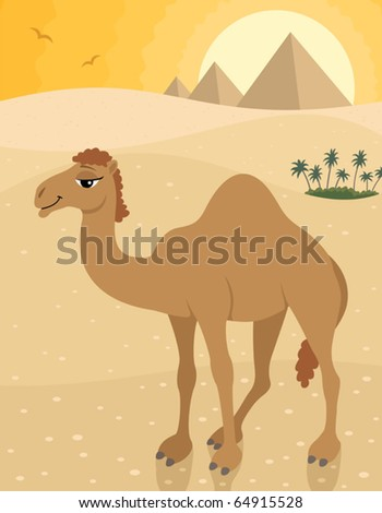 Camel: Camel in the desert, posing in front of the pyramids. No transparency and gradients used.