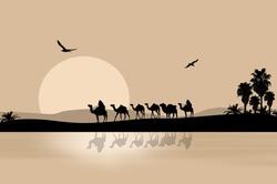 Camel caravan going through the desert on beautiful on sunset, vector illustration