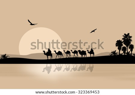 camel caravan going through the