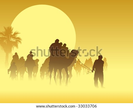 Camel caravan going through the sandstorm in the Sahara Desert