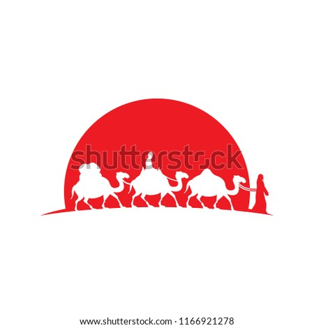 Camel Caravan illustration logo icon vector - Shutterstock ID 1166921278