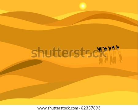 Camel caravan in the desert