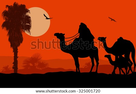 camel caravan on beautiful
