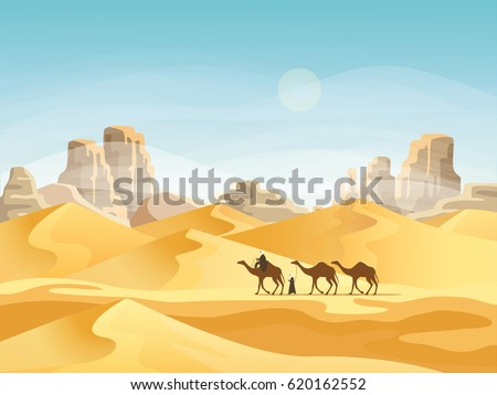 camel convoy with arabic people