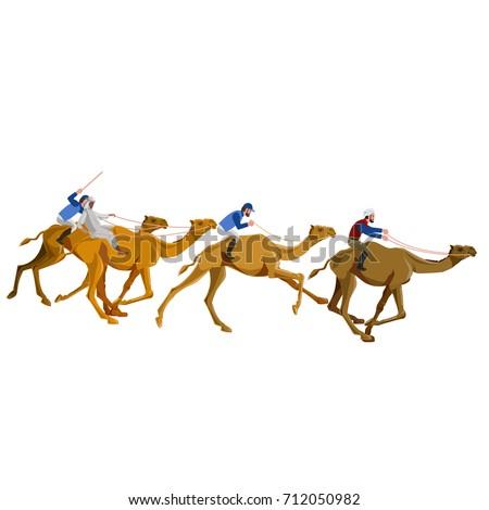 Camel racing. Vector illustration