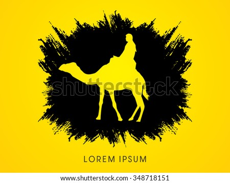 Camel riding on splash grunge brush graphic vector