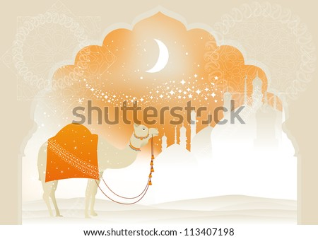 Camel through desert with arab skyline views.