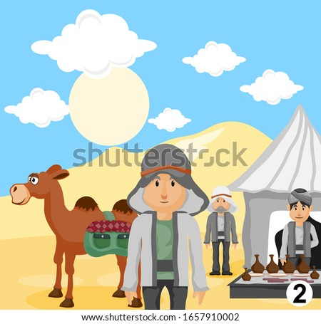 camel with arabic people in