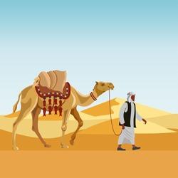 Cameleer (camel driver) with camel in a desert. Vector illustration
