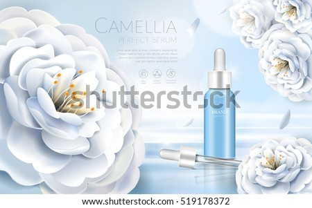 Camellia cosmetic ads, elegant white camellia with droplet bottle, 3d illustration