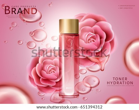 camellia hydrating toner contained in a bottle, with pink camellia flowers, pink background 3d illustration