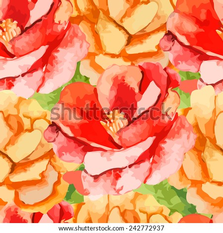 Camellia.Rose. Seamless pattern of flowers. Exotic plants. watercolor.