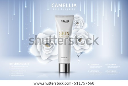 camellia skin toner contained in tube, silver background, 3d illustration