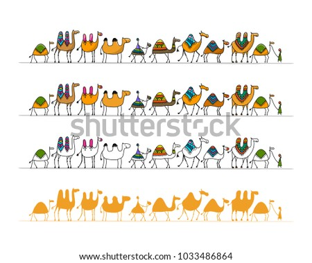 Camels caravan, sketch for your design