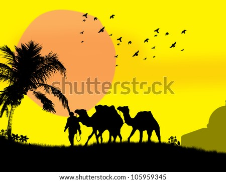 camels in sahara on yellow