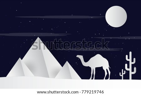 camels in the desert night