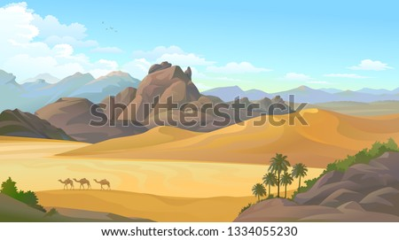 Camels migrating across a vast hot desert and surrounded by big mountains