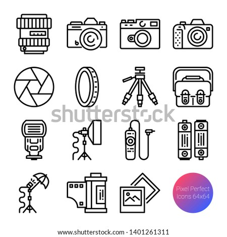 camera and equipment outline icons, vector pixel perfect design, editable stroke