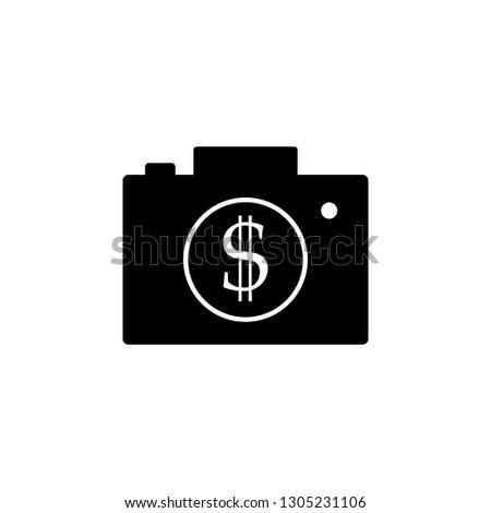 camera and money vector icon