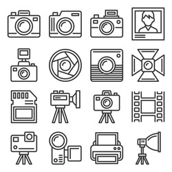 Camera and Photography Equipment Icons Set on White Background. Line Style Vector